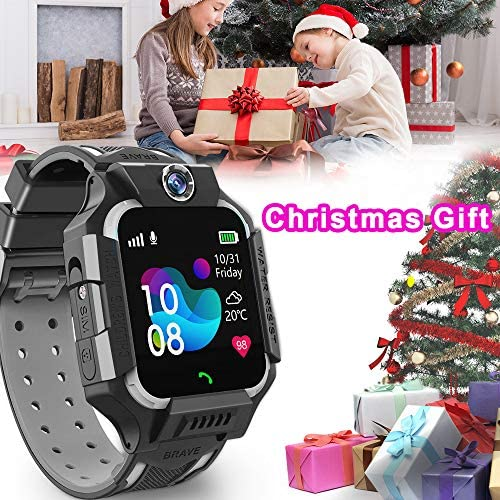 Kids Smart Watch Phone for Girls Boys Age 3-12, Dual Cameras IP67 Waterproof Smartwatch with 8 Games Music Player SOS Call Alarm Clock Flashlight 12/24 Hr Children Learning Toys Birthday Gifts (Black)