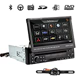 """OUKU Rear view Camera Included + Detachable panel Auto Single 1 Din 7""""Car Stereo DVD Player Radio Ipod Bluetooth HD Touchscreen USB SD IPOD IR RDS+Free Backup Cam"""