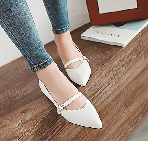 Heel Pumps White Woman Buckle Bout Liten Pointed Fashion Aisun awfFqX