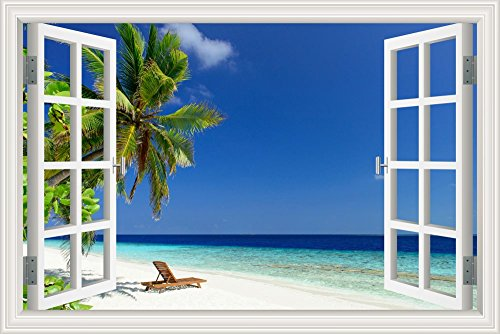 GreatHomeArt White Beach Palm Tree Wall Murals Blue Ocean Window Scene, Removable Wall Decals Sticker XL, Home Decor Wallpaper for Bedroom- 32x48 inches ()