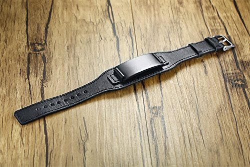 Personalized Men's Leather Bracelet Black Men's Bracelets with Stainless Steel Plate Custom Name Bracelet for Him by Mealguet Jewelry (Image #4)