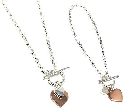 Cœur Lien Chaîne Bracelet en plaqué or rose argent sterling