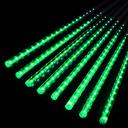 LIYUDL 50cm LED Lights Waterproof Dustproof Meteor Shower Rain 8Tube Light US Plug For Wedding Party Christmas Xmas Decoration Tree(Green)