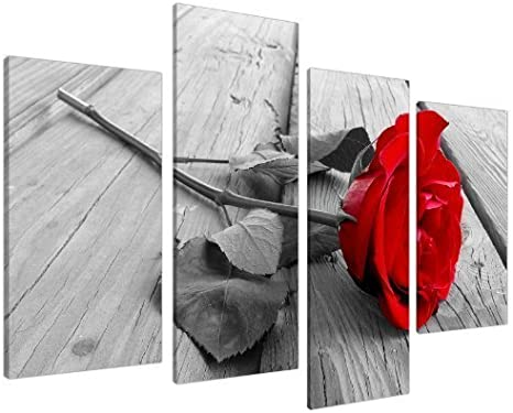 Amazon Com Wall Decorations For Bedroom Red Rose Flowers On Grey Wooden Boards Pictures Painting Modern Art Posters Canvas Prints Framed Artwork Home Living Room Decor