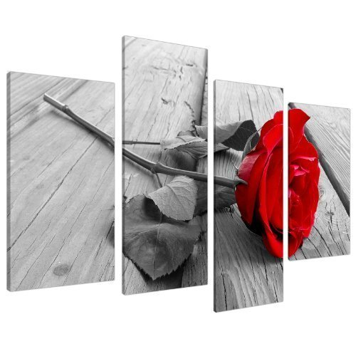 Red Rose Floral Black White Canvas Wall Art Pictures Set 130cm Wide XL Prints,4 Panel Canvas Prints Artwork Modern Paintings Wall Art Home Decoration Stretched and Framed Ready to Hang (Canvases Red)