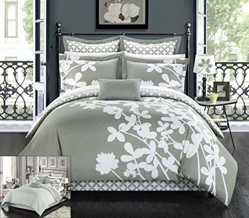 Chic Home 7 Piece Iris Reversible Large Scale Floral Design Printed with Diamond Pattern Reverse Comforter Set, Queen, Grey (Comforter Platform Bed Sets)