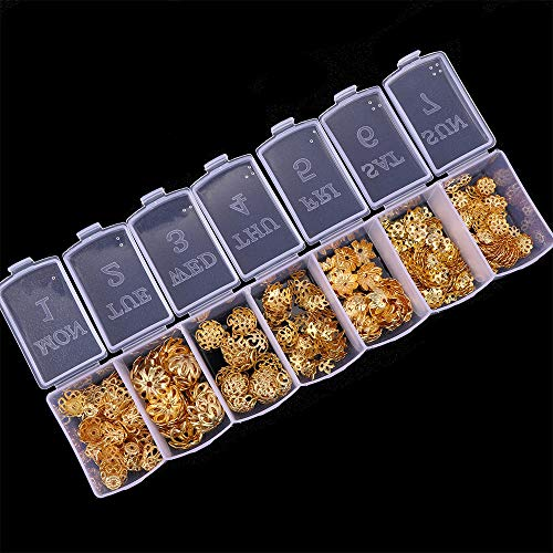 NX Garden 350pcs Gold Jewelry Bead Caps Assorted Kit, End Caps, Cord Caps, 7 Kinds Hollow Flower Filigree Spacer Tassel Charms Accessories for Jewelry Making DIY ()