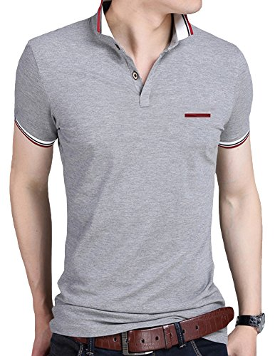 Mens Polo Shirts Lovelelify Short Sleeve Slim Fit Polo T Shirts US M/Asian 3XL Gray HD6369 by Lovelelify Men Clothing