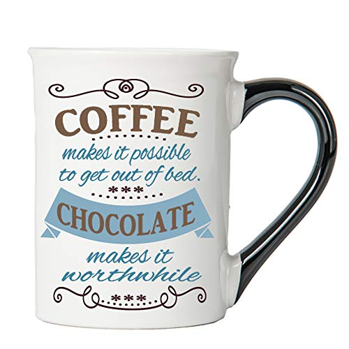 - Cottage Creek Funny Mug Large18 Ounce Ceramic Coffee Makes It Possible, Chocolate Makes It Worthwhile Coffee Mug/Funny Gifts For Women Chocolate Gifts
