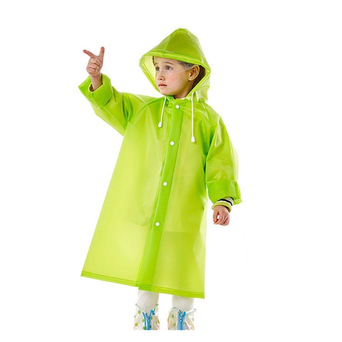 GWELL Kinder Regenmantel mit Kapuze Umweltfreundliche Wasserdicht Eva Regenjacke Regenponcho fü r Jungen oder Mä dchen