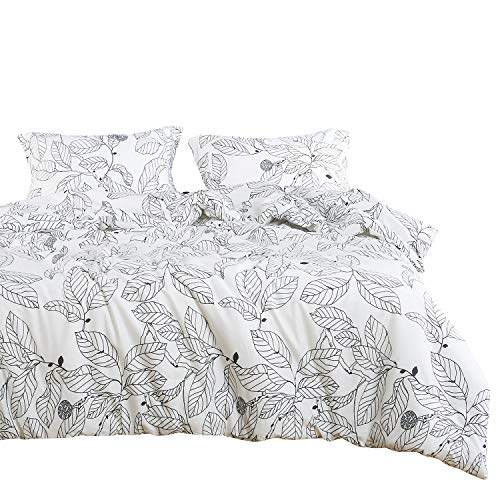 Wake In Cloud - Tree Duvet Cover Set, 100% Cotton Bedding, Black Branches Leaves Pattern Printed on White, with Zipper Closure (3pcs, Twin Size)