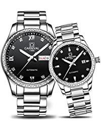Couple Automatic MechanicalWatchSapphireGlassStainless Steel Watch Men and Women Her or His Gift Set of (Silver