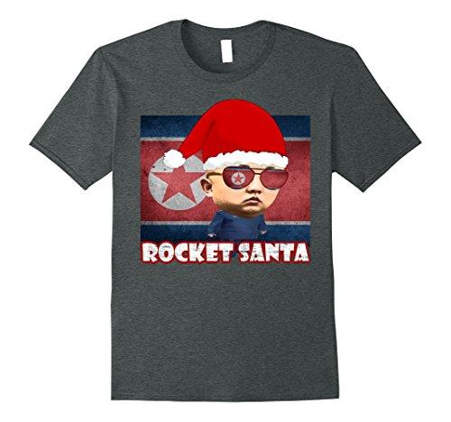 North Korea Halloween Costume (Mens Rocket Santa Man North Korea Kim Jong-Un Christmas T-Shirt XL Dark Heather)