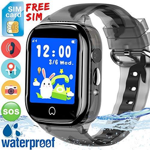Waterproof Kids GPS Tracker Watch - [Free SIM Card] Kidaily Smart Watch for Boys Girls Kids Phone Watch with SOS Two-Way Call Voice Chat Games Camera Alarm Clock Learning Toy School Birthday Gift