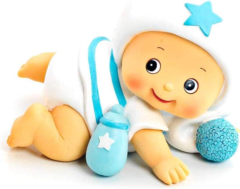 con gorrito Mu/ñeco para la tarta Ni/ño beb/é tonos azul Figura o mu/ñecos para la tarta Beb/é