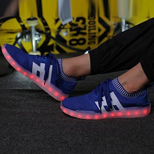 Joansam Mens Womens Led Shoes Mocassini Slip On Mocassini Moda Blu