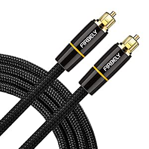 Optical Audio Cable,FIRBELY Toslink Male to Male- 24K Glod Plated Digital audio cable,metal connectors and braided jacket (8 feet)