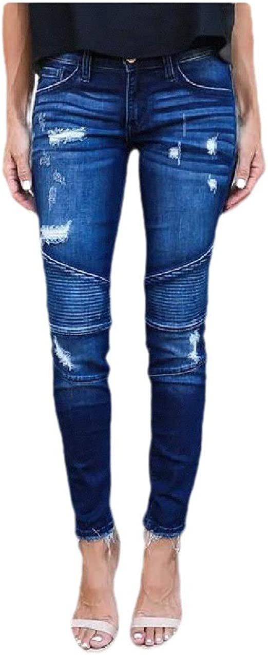 AngelSpace Women Hole Solid Colored Wash Pocketed Stretch Drape Fashion Jeans Pant