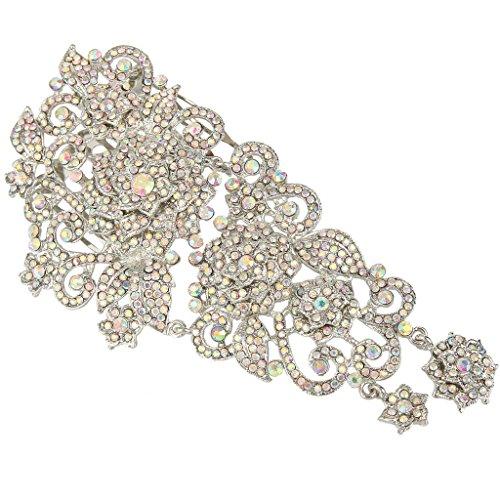 EVER FAITH 6 Inch Wedding Silver-Tone Flower Hair Side Comb Iridescent Clear AB Austrian Crystal
