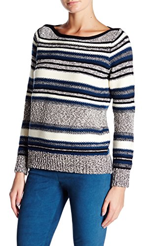 Vince Wool/Cotton Boucle Striped Sweater, Dark Sapphire Combo - Size -