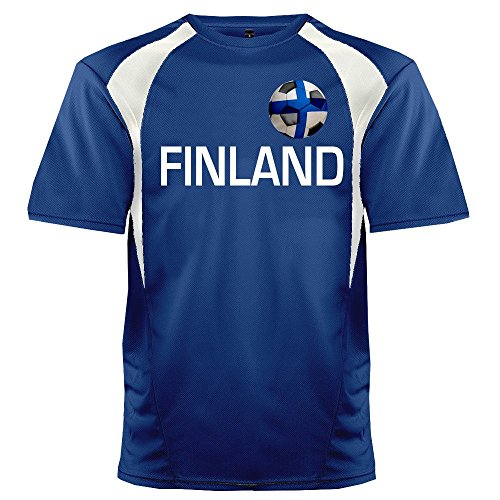 Custom Finland Soccer Ball 1 Jersey Adult Small in Royal Blue and