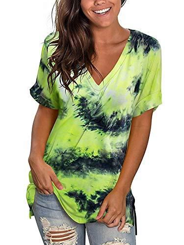 Vrouwen Tie Dye T Shirt V-hals Zomer Gedrukt Tops Dames Korte Mouw Blouse Tuniek Top Causale Losse Tee Shirts