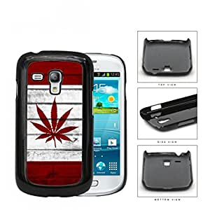 Canada Weed Flag White and Red Wood Pattern Hard Snap on Cell Phone Case Samsung Galaxy S3 MINI I8190