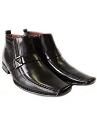 New Mens Leather Ankle Boots Zippered Comfort Stretch Fit Buckle Dress Shoes 606231/BLACK
