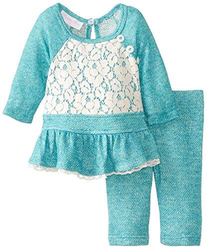 - Toddler Little Girls Raglan Terry Knit Dress Legging Set (4T, Turquoise)