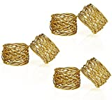 : Handmade Gold Round Mesh Napkin Rings Holder for Dinning Table Parties Everyday, Set of 6
