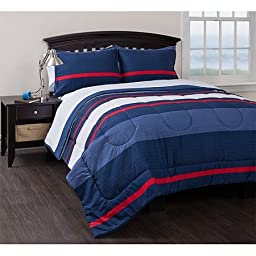 Coastal Blue, Red and White Stripe Printing Bedding Nautical Themed Reversible Complete Comforter Set, QUEEN (8 Piece Bed in a Bag) with Sleep Mask