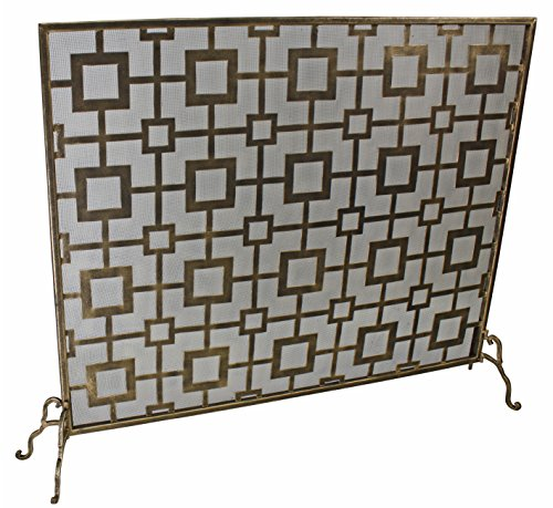 Light Burnished Gold Iron Geometric Square Design Single Panel Fire Screen with Mesh Backing