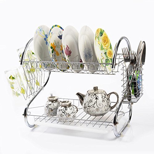 2 Tiers Kitchen Dish Cup Drying Rack Holder Organizer Drainer Dryer Tray - Block At Orange Ca