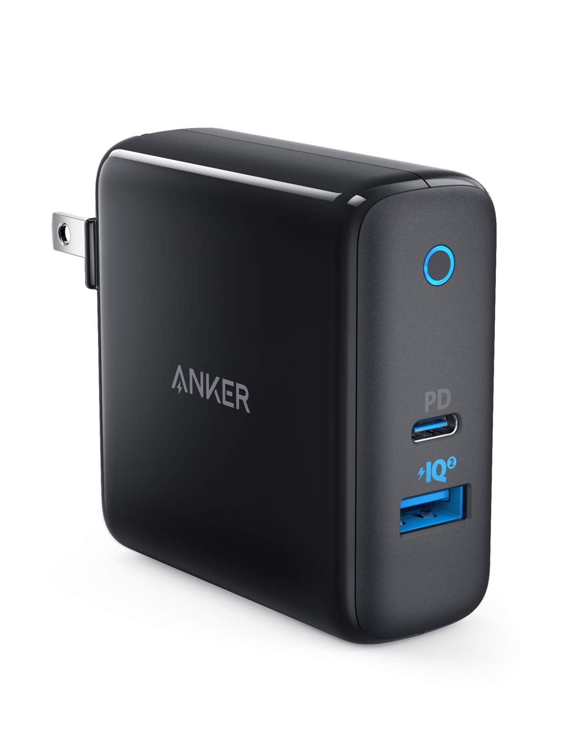 Anker PowerPort II UL Certified 49.5W Wall Charger with Foldable Plug One 30W Power Delivery Port for MacBook Air//iPad Pro 2018 USB C Charger PowerIQ 2.0 for S10//S9 and More iPhone XS//Max//XR//X//8//+