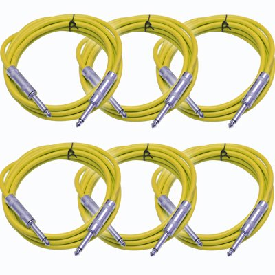 """Instrument Yellow 1//4/"""" TS 3/' Patch Cable Guitar SEISMIC AUDIO Effects"""