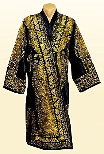 STUNNING UZBEK GOLD SILK EMBROIDERED ROBE CHAPAN FROM BUKHARA A7849 by East treasures
