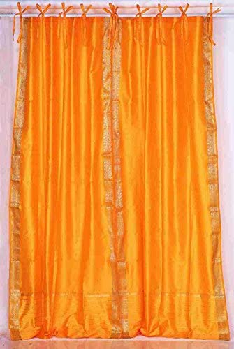 Indian Selections Lined-Pumpkin Tie Top Sheer Sari Curtain/Drape/Panel