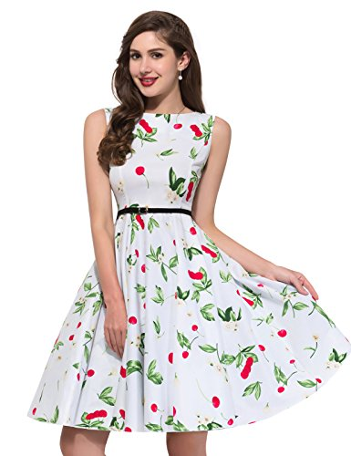 Belt Line Vintage Sleeveless A 4 GRACE Floral KARIN Party Dress with wHqIn8