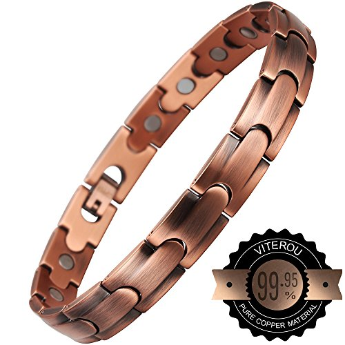 VITEROU Magnetic Solid Pure Copper Therapy Bracelet for Arth...