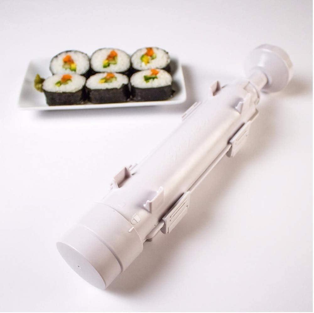 URED Professional Super Space Sushi Bazooka ,Upgrade Sushi Roller Mold Food Grade Plastic, Sushi Maker Rice Vegetable Meat Diy Sushi Making Kit Machinekitchen Utensils White (white)