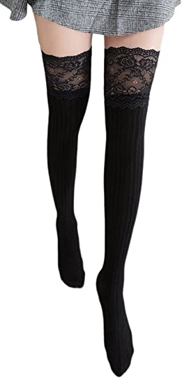 d346d0723ca C-Pioneer Women Lace Knitting Cotton Over Knee Thigh Stockings High Socks  Pantyhose Tights (