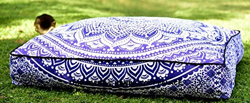 5 Pcs Large Mandala Floor Pillows Wholesale Lot Square Indian Cushion Cover 35'' Oversized Cushion Cover Cotton Seating Ottoman Poufs Dog / Pets Bed Sold By Handicraft-Palace by Handicraft-Palace (Image #3)
