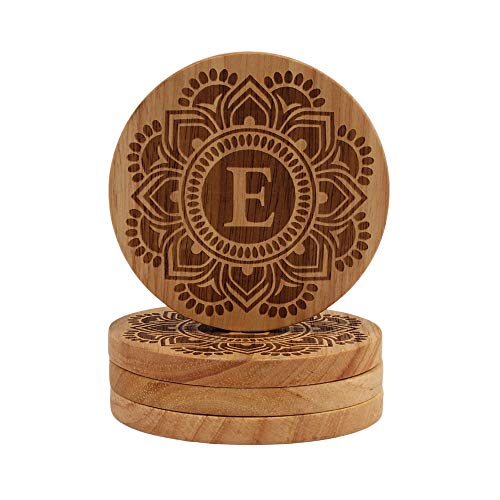 - Letter E Monogram Coaster - Mandala Design E Initial, Wood Coasters for men 4 Coasters for Drinks Coasters for Women Beer Coasters Monogrammed Coasters Mug Coaster Set, Round Table Coasters Set