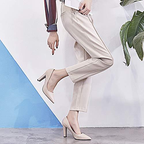 De Trabajo Inclinado Zapatos Yukun con Zapatos Gruesas zapatos Femenino Solo Apricot De Blanco de alto Las De Alto Las Zapatos Mujeres Salvaje tacón Un Profesional Mujeres Talón rR0wBqURA