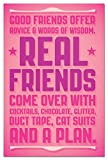 Real Friends Blank Boxed Note Cards With Envelopes, All Occasion (12 Count), Funny Friendship Cute Card for Best Friends, FS66486 Tree-Free Greetings