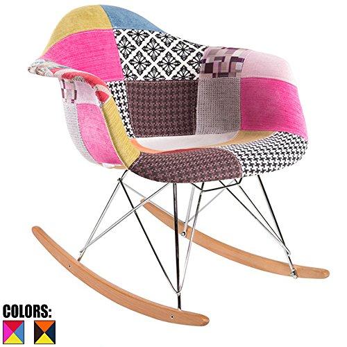 2xhome   Single (1)   Multi Color   Modern Upholstered Eames Style Armchair  Fabric Chair Patchwork Multi Pattern Rocker Chrome Steel Eiffel Base  Nursery ...