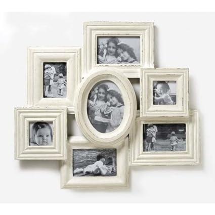 Vintage Inspired Extra Large Cream Wooden Multi Photo Frame: Amazon ...