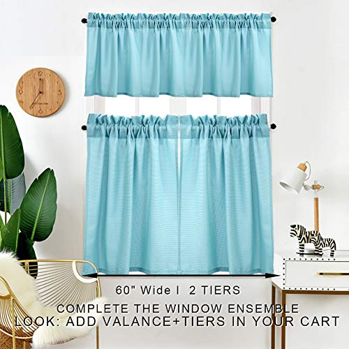 IDEALHOUSE 3 Pieces Window Curtains and Valance Set for Bathroom Kitchen, Waffle Weave Fabric Rod Pocket Short Small Blue Gray Bathroom Window Curtains (60