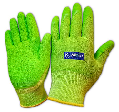 Bamboo Gardening Gloves for Women & Men - Ultra-Premium & Breathable to Keep Hands Dry - Textured Grip to Reduce Slipping Garden & Work Gloves by Kamojo (Large)
