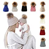 xsby Girls Winter Hats, Winter Snow Ski Hip Hop Caps Wool Knitted Hat for Girls Hats Dark Gray 46-51cm